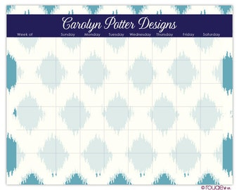 "IKAT weekly planner with monogram - 14"" x 11"" with magnet, wall mount and dry erase marker included"