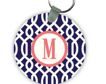 TRELLIS keychain with monogram