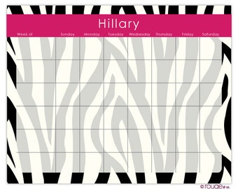 "ZEBRA weekly planner with monogram - 14"" x 11"" with magnet and wall mount - dry erase marker included"