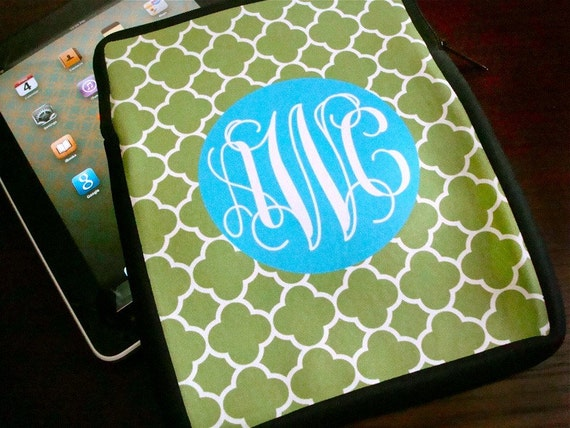 iPad or kindle sleeve - clover pattern with monogram