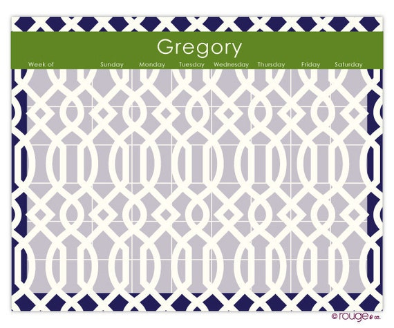 Trellis Weekly Planner With Monogram 14 X 11