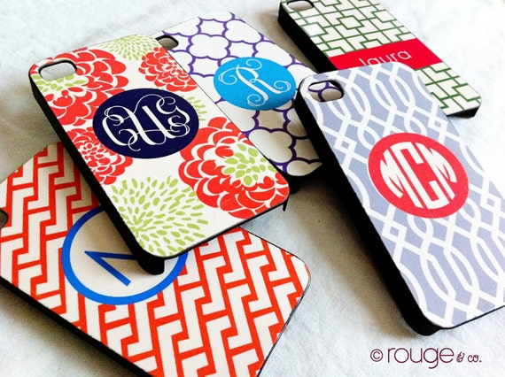 iPhone 4/4S cover - peony pattern top left - in custom colors with monogram or name