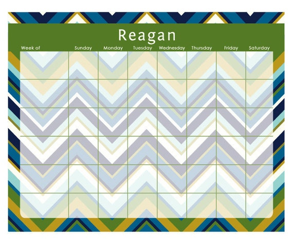 "MULTI CHEVRON weekly planner with monogram - 14"" x 11"" with magnet and wall mount - dry erase marker included"