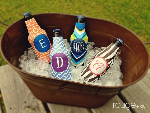bottle beverage insulator - customizable colors and monogram with zippered back for longnecks