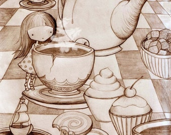 The Tea Party  8 x 10 inch high quality giclee print