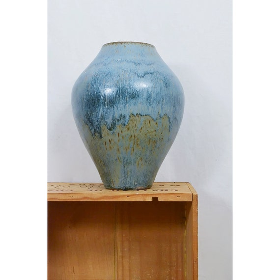 Vintage Blue Art Vase / 1970s Large Hand Thrown Pottery Urn with Beautiful Glaze Work / SALE