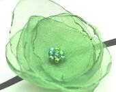 Green Organza Flower on thin Black elastic Headband