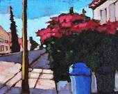 San Diego California Landscape- Bougainvillea in Hillcrest- Oil Painting
