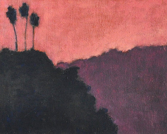 Palm Trees Against a Pink Sky- Oil Painting