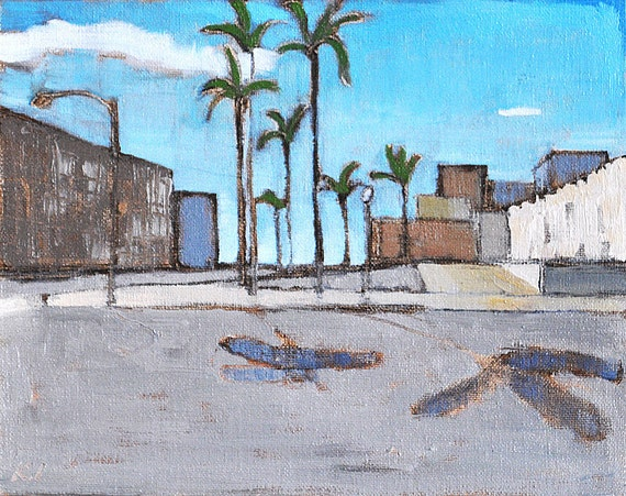 Palm Trees in Downtown San Diego - Original Oil Painting