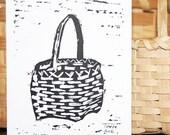 Basket Greeting Card, black and white, linocut, berry basket, cat head basket, note card, basket maker, friendship