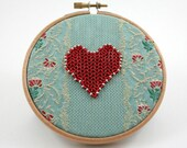 Embroidery Hoop Art, red heart, aqua, turquoise, Valentines Day, beaded heart, recycled fabric circle