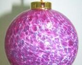 blown glass ornament purple, blue, white