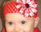 Red and White Glitter Vine of Hearts Valentine's Day Double Layer Ribbon Flower Bow Clip with Interchangeable Headband