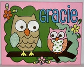 Handpainted Circo Love and Nature Owl Bedding Set Theme Nursery Wall Art Personalized Custom Canvas Name Painting 11X14