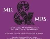 Mr. & Mrs. engagement invitation -- plum purple -  digital file