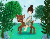 Fawn Rider Print 8 X 10 Cute retro girl