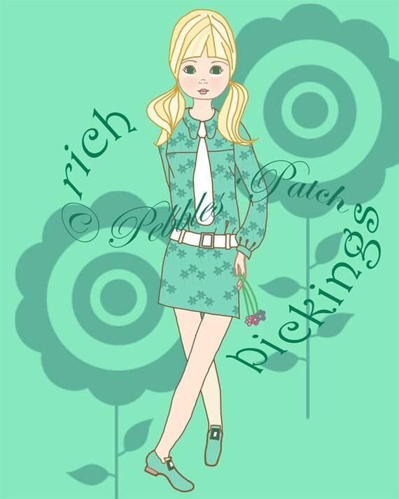 Rich Pickings Print 8 X 10 Cute retro girl