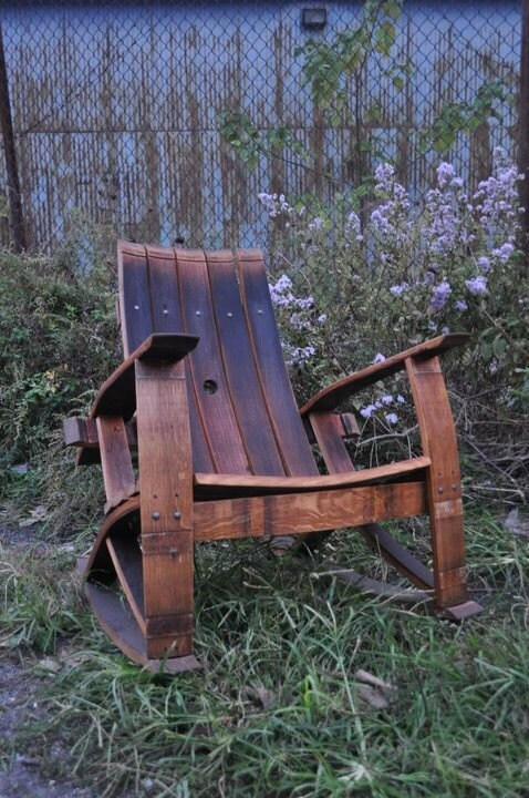 Recycled Wine Barrel Rocking Chair