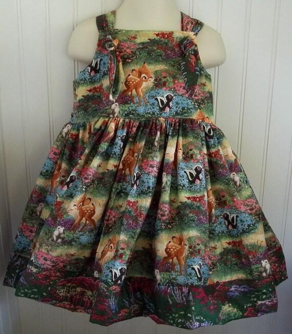 Disney Thomas Kinkade Bambi Boutique Dress Size 2T 3T 4T 5