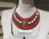 RESERVED for Jonne. SAVE NOW. Fabulous, circa 1970s, handmade, beaded, bib necklace. turquoise, shells, beads, asian, vestiesteam