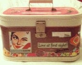 FREE - pay for shipping, Upcycled Vintage Starline Train Case Decoupaged perfect for wedding or bridal shower.