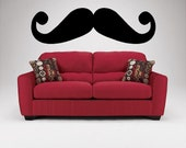 10x34 Mustache Funky art -Vinyl Lettering wall  decal words graphics Home decor itswritteninvinyl
