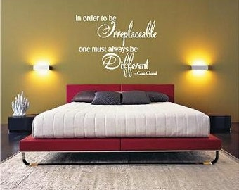 Coco  Chanel Irreplaceable-Vinyl Lettering wall words quotes graphics decals Art Home decor itswritteninvinyl