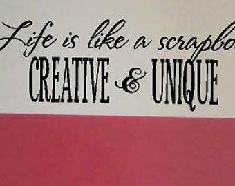 Life is like a scrapbook - Vinyl decal-Vinyl Lettering wall words graphics Home decor itswritteninvinyl