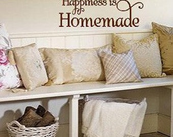 Happiness is Homemade- Vinyl decal-Vinyl Lettering wall words graphics Home decor itswritteninvinyl