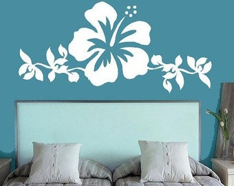 Hibiscus Flower Art- Bedroom  Vinyl Lettering wall words graphics Home decor itswritteninvinyl
