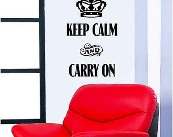 Keep calm and carry on -Vinyl Lettering wall words graphics Home decor itswritteninvinyl