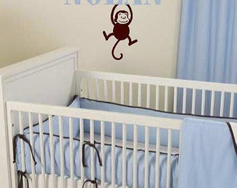 Personalized Name with hanging Monkey  children  Vinyl Lettering wall words graphics  decals  Art Home decor itswritteninvinyl