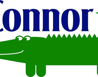 Personalized Name Alligator- Boy  childrens   -  Vinyl Lettering wall words graphics  decals  Art Home decor itswritteninvinyl