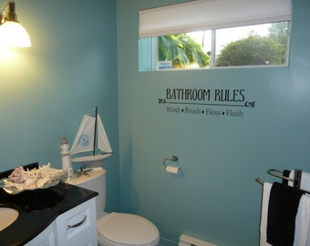 Bathroom Rules- Vinyl Lettering wall words graphics  decals  Art Home decor itswritteninvinyl