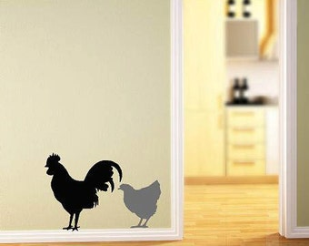 Hen and Rooster- Vinyl Lettering wall words quotes graphics decals Art Home decor itswritteninvinyl