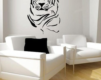 Tiger Portrait Vinyl Lettering  animal Decal wall words graphics Home decor bedroom  itswritteninvinyl