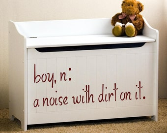 boy a noise with dirt on it  definition children  Vinyl Lettering wall decal words graphics  Art Home decor itswritteninvinyl
