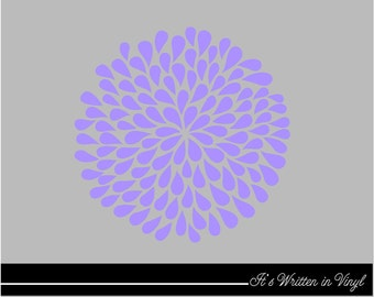 Lavender Mum Flower 9 in.- Vinyl Lettering wall words quotes graphics decals Art Home decor itswritteninvinyl