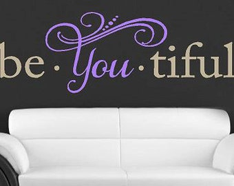 Beautiful - Vinyl Lettering wall words quotes graphics decals Art Home decor itswritteninvinyl