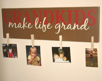 Grandkids make life Grand  Wood Sign- Vinyl Lettering wall words graphics Home decor itswritteninvinyl