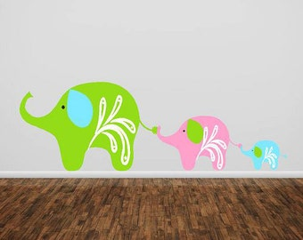 Elephant  Family- childrens nursery  -  Vinyl Lettering  decal wall words graphics  decals  Art Home decor itswritteninvinyl