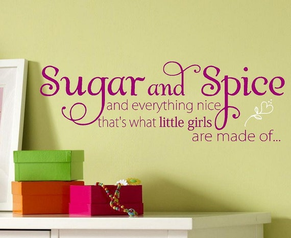 Sugar and Spice - Children kids-Vinyl Lettering wall words  quotes graphics Home decor itswritteninvinyl