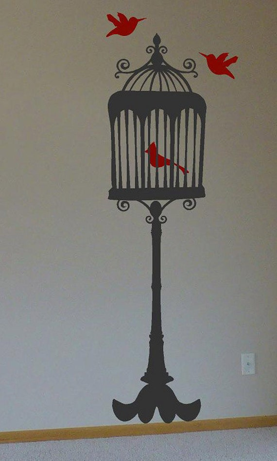 5ft Stand up Bird Cage with 3 birds-Vinyl Lettering wall words  custom graphics decals Art Home decor itswritteninvinyl