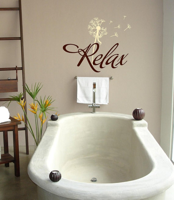 Bathroom Lettering Decor : Relax with dandelion bathroom vinyl lettering wall words
