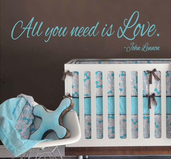 John Lennon -All you need is Love - Vinyl Lettering wall words design decal  bedroom sign graphics Home decor itswritteninvinyl