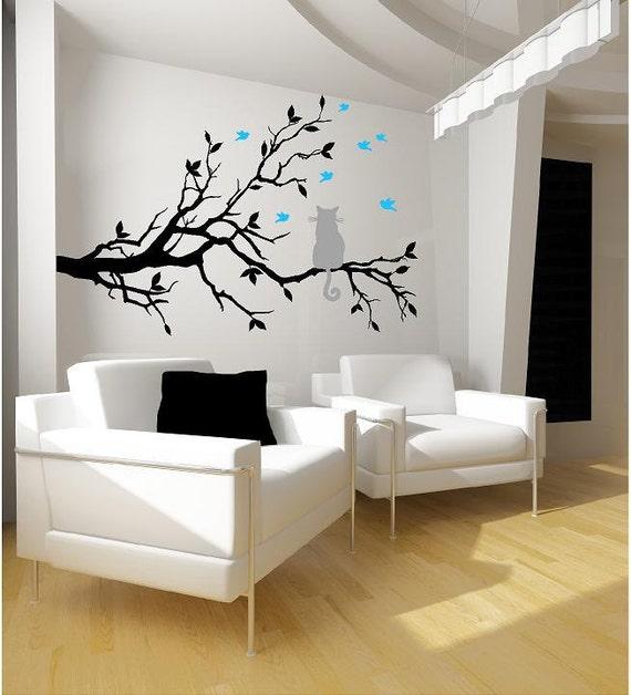 Cat on a tree branch- birds Vinyl Lettering  animal Decal wall words graphics Home decor bedroom  itswritteninvinyl