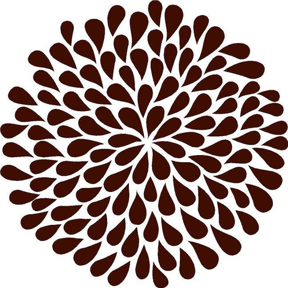 Dark Brown Mum Flower 9 in.- Vinyl Lettering wall words quotes graphics decals Art Home decor itswritteninvinyl