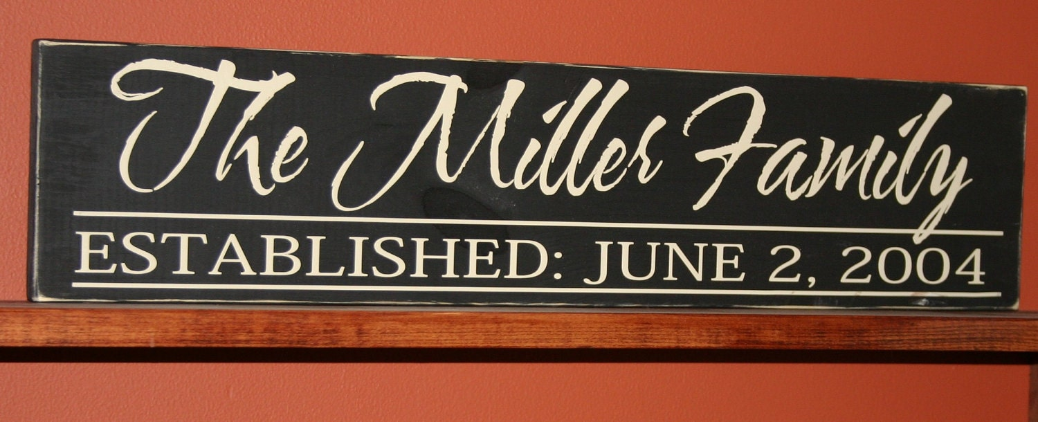 Hand Painted Personalized Family Established Wood Sign Vinyl