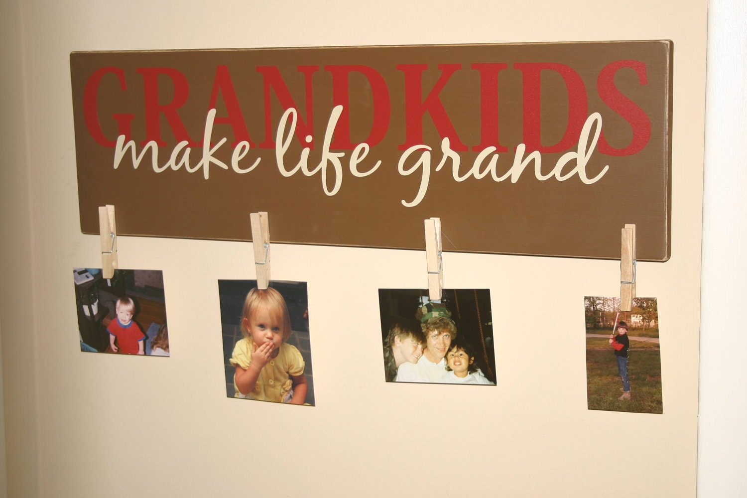 Grandkids Make Life Grand Wood Sign Vinyl Lettering Wall